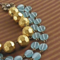 Glass, Brass, and Faceted Acrylic Floral Necklace