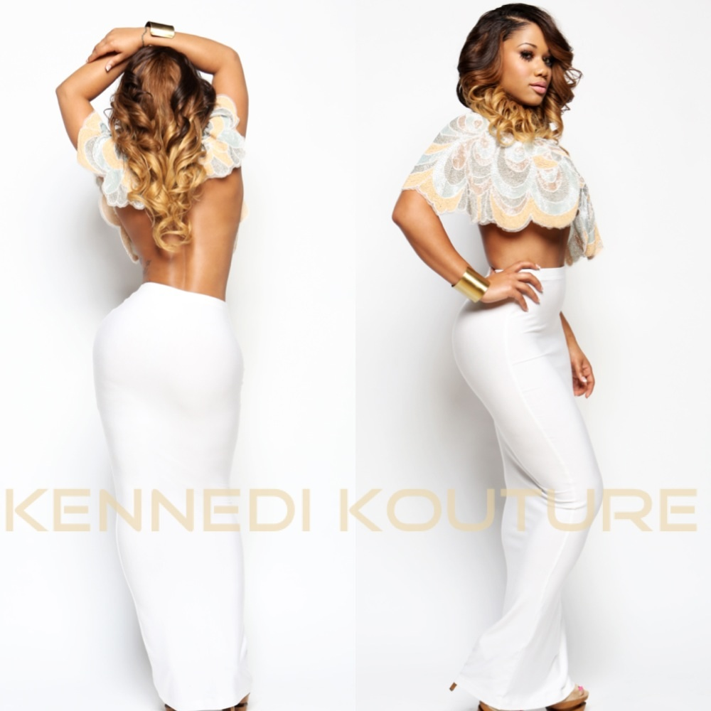 WHITE LONG CUSTOM TUNNEL MAXI SKIRT · KENNEDI KOUTURE · Online ...