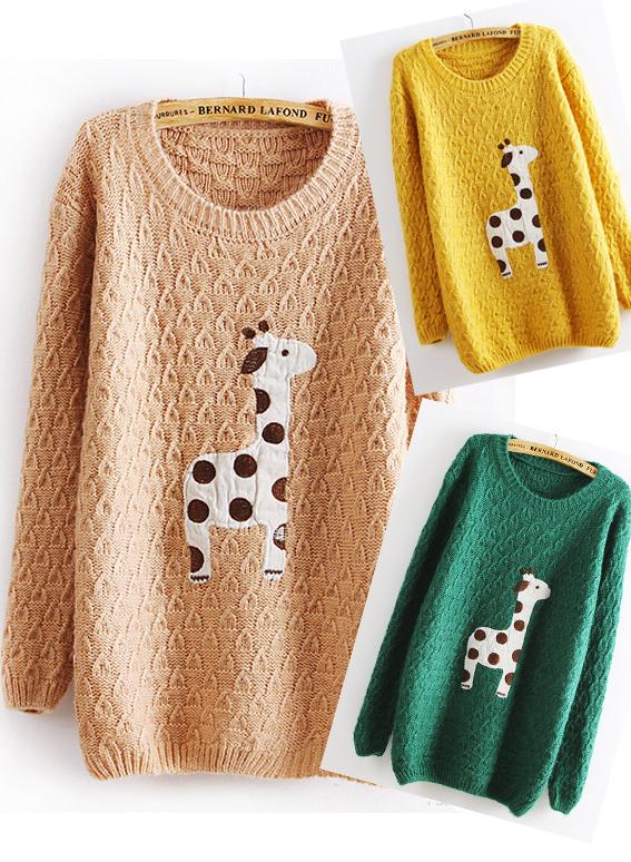 Giraffe Knitting Pattern Jumper : Lovely Dots Giraffe Sweater on Storenvy