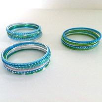 7pcs green aqua blue silver thin metal bracelets sparkle bangle set