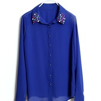 Gem embellished chiffon blouse