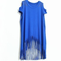 Fringe cut out studed tunic t-shirt