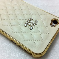 New Chic Bling Sparkle Beige Sheep Leather Crystal Logo iPhone Case Cover