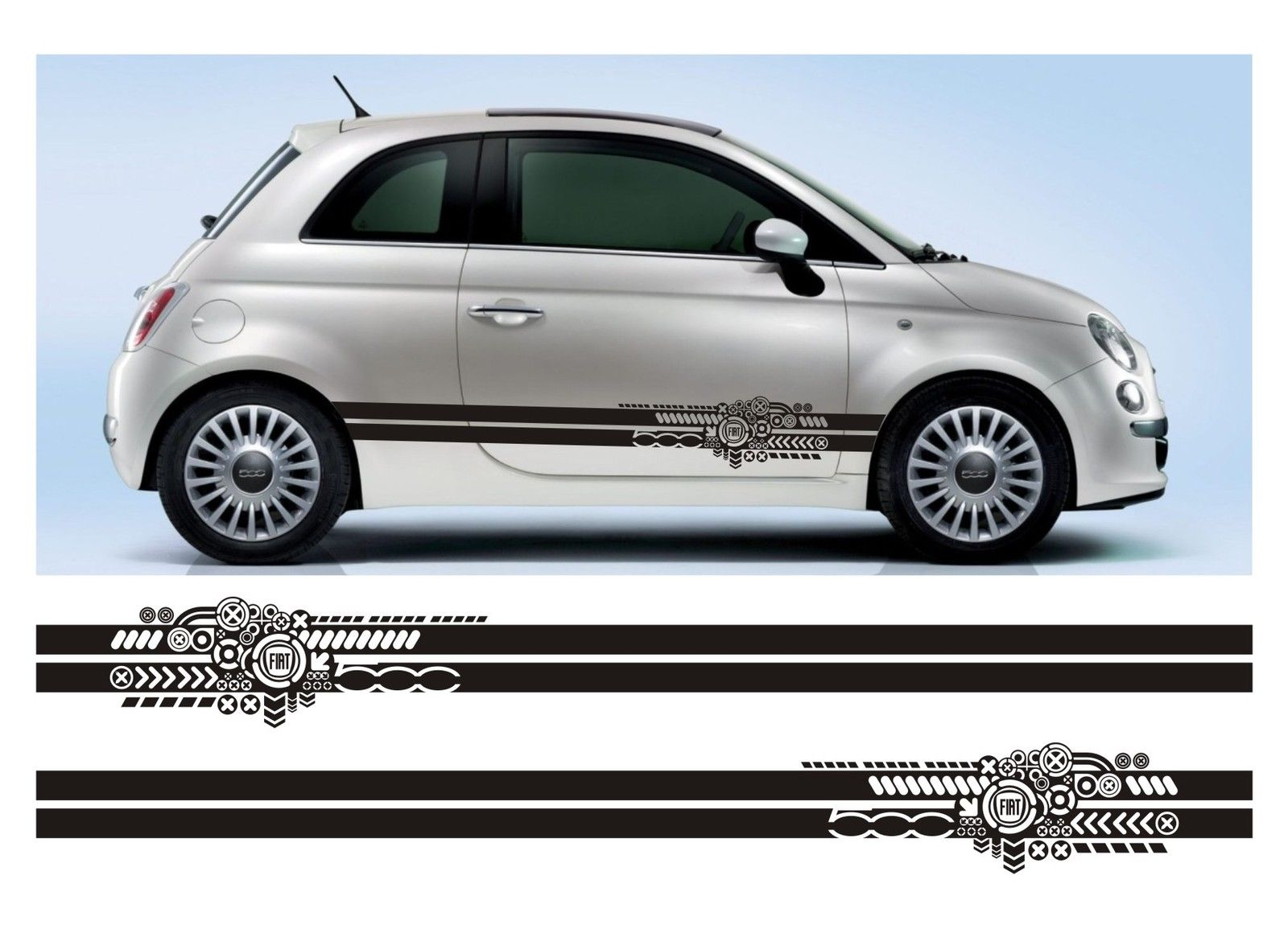 ssk019 all year fiat 500 stripe sticker kit italy italian cinquecento abarth infinity270. Black Bedroom Furniture Sets. Home Design Ideas