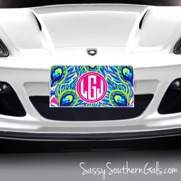 lilly pulitzer inspired monogrammed car tag    license plate personalized    monogrammed car tag