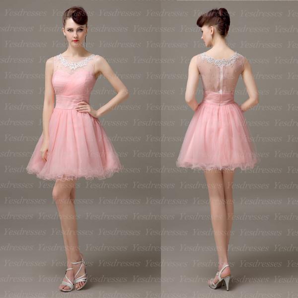 short prom dress, sleeveless prom dress, pink prom dress, junior ...