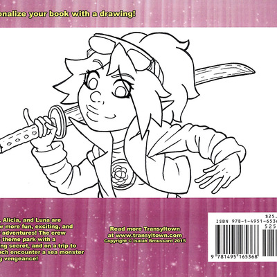 Transyltown volume 2: starlight summer w/ black and white back cover sketch