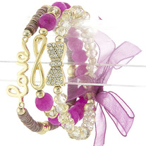 Bows & Love in Purple Stack Bracelets