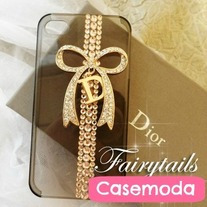 New Noble Designer Gold Bow Gold Rhinestones iPhone Case