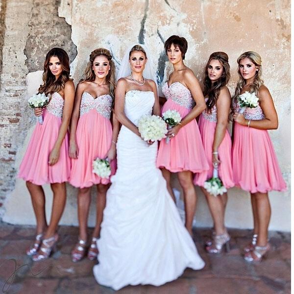 short bridesmaid dress, pink bridesmaid dress, strapless bridesmaid ...