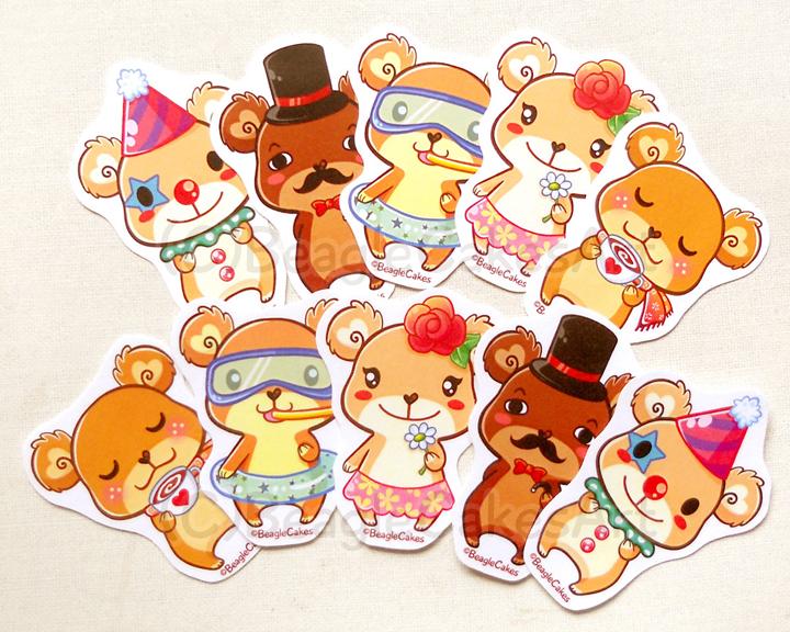 bear stickers teddy bear stickers kawaii stickers animal stickers