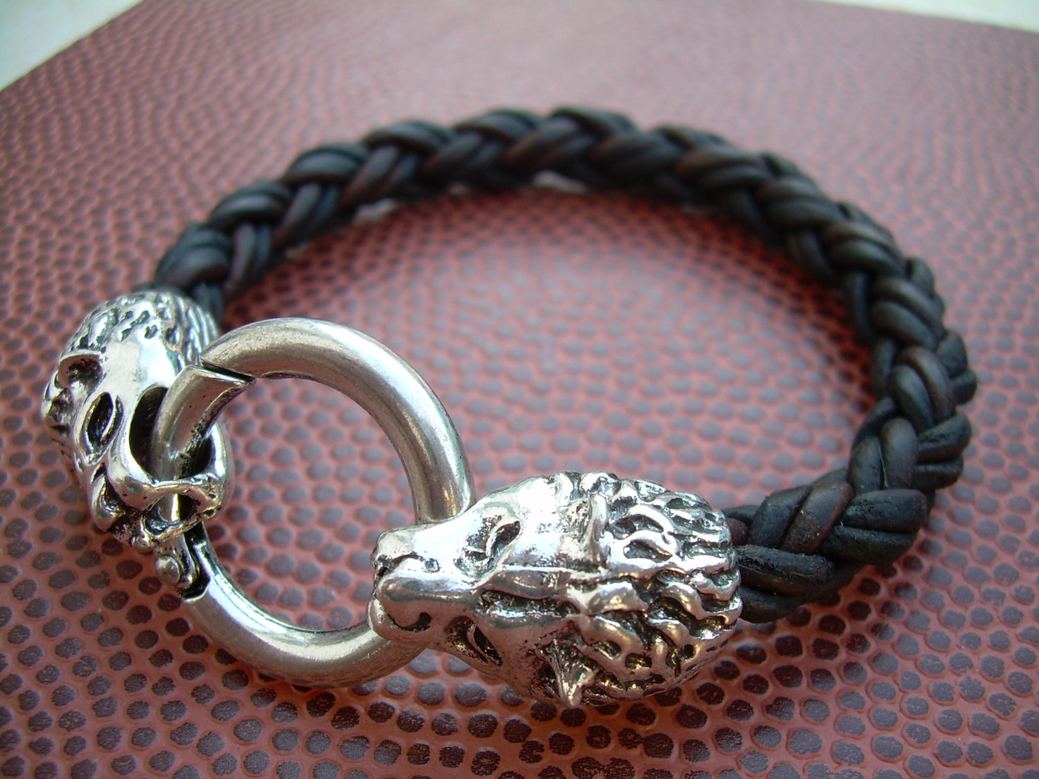 Mens Braided Leather Bracelet Natural Antique Brown With Lions
