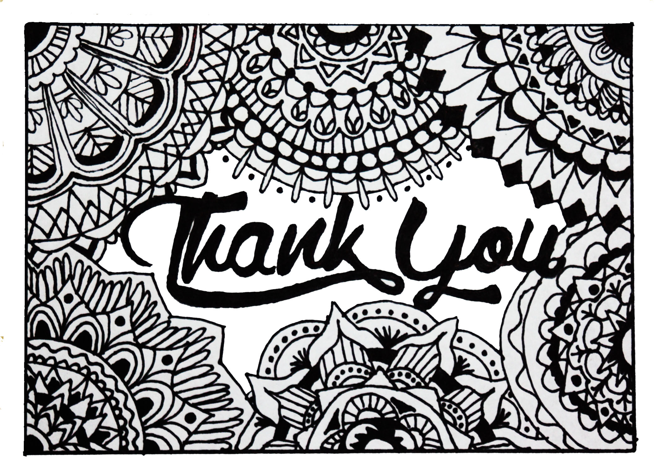 Zentangle Thank You Cards 4x6