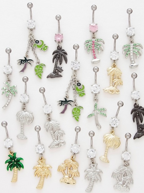 Palm Tree Belly Button Ring From Piercedperks