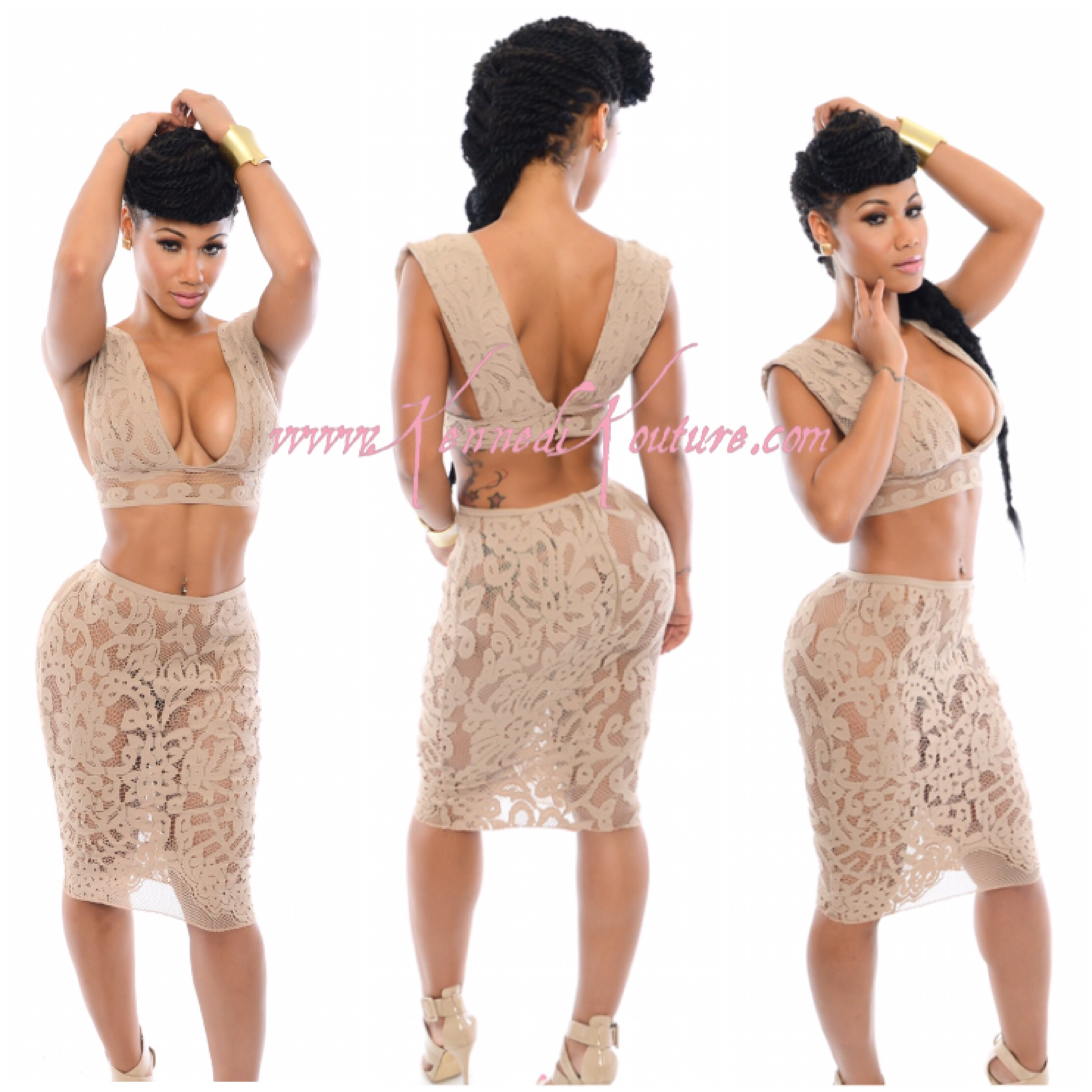 Custom Katie Nude Floral Lace 2 Piece Crop Top And Fitted Skirt