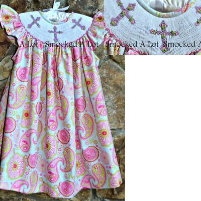 Easter smocked cross pastel paisley dress