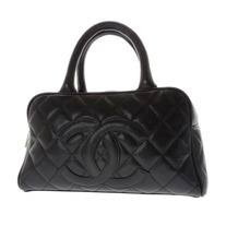 CHANEL quilted black Small CAVIAR bowler top handle handbag bag