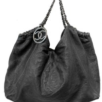 Authentic CHANEL Black Leather Coco Cabas Charm Leather Hobo Tote Bag Purse