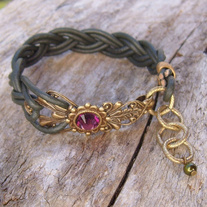 Braided Green Leather Bracelet with Antique Gold and Mauve Crystal