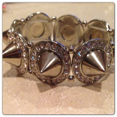 Lg spike and rhinestone bracelet