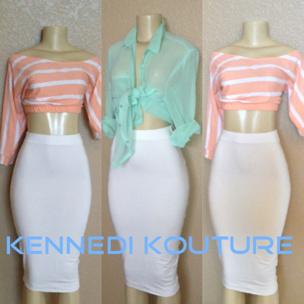 SUMMER WHITE SEXY HIGH WAIST MIDI PENCIL SKIRT · KENNEDI KOUTURE ...