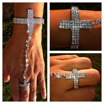 Silver Cross Cuff w/Ring Set