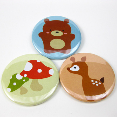 Woodland animal magnet trio - bear mushroom deer