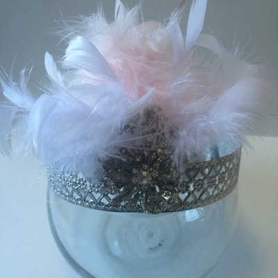 Pink feather glam crown