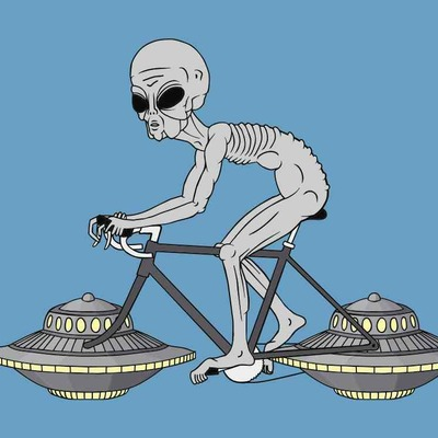 Grey alien with ufo wheels illustration 5x7 print