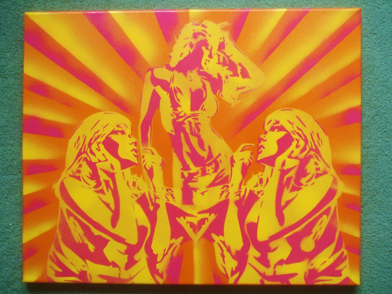 Disco lust woman painting,spray paint,stencil art,canvas,orange ...