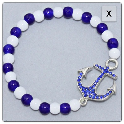 Blue & white anchor bracelet