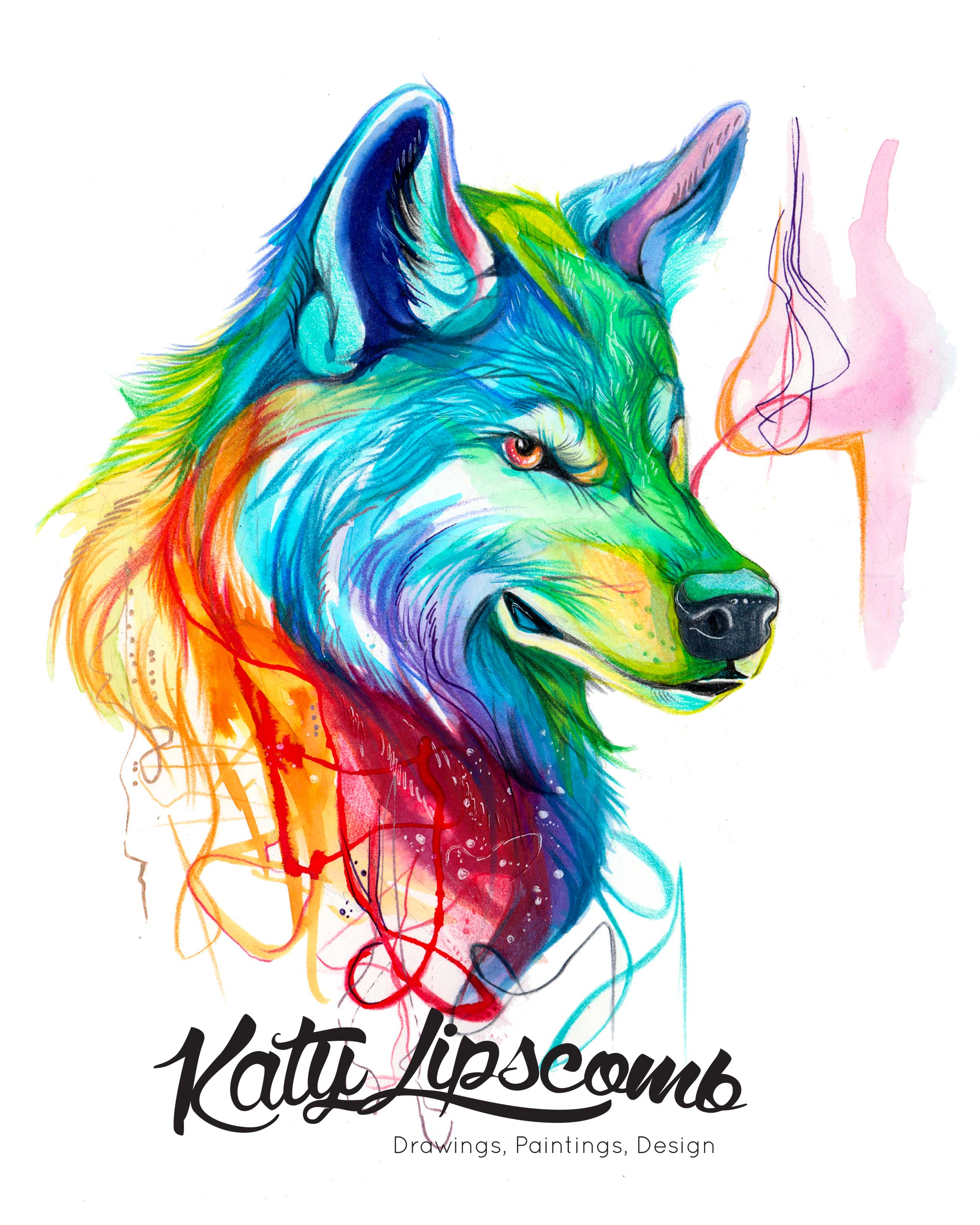 Colorful Wolf Print · Katy Lipscomb · Online Store Powered ...
