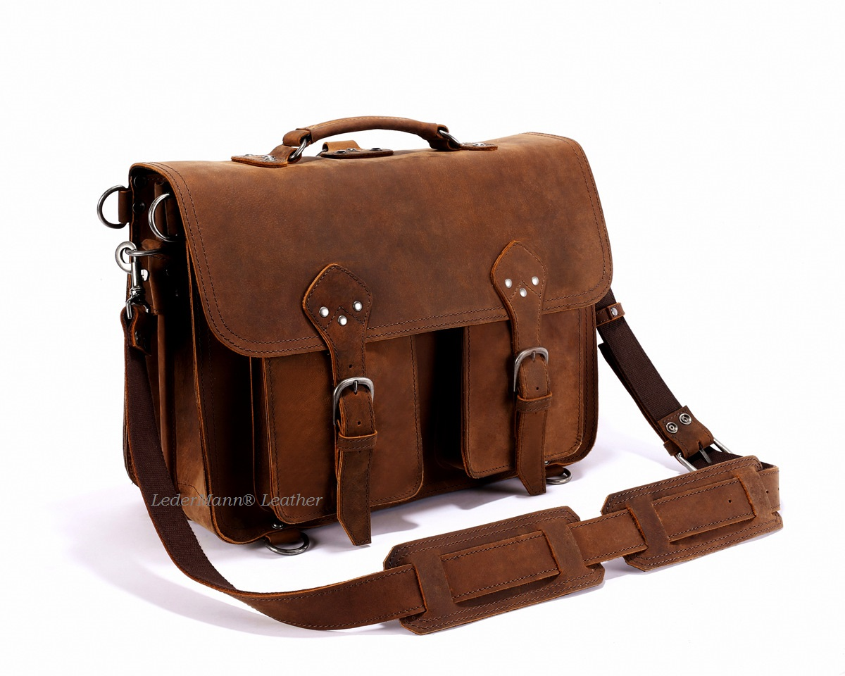 18'' Laptop Messenger Bag - Dark Tobacco Brown Vintage Style ...