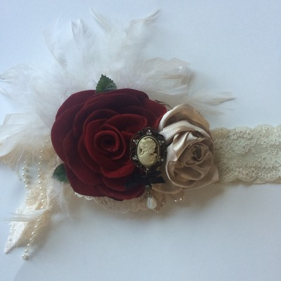 vintage red velvet rose headband