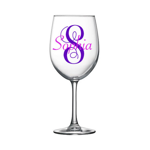 Monogram And Name Personalized Wine Glass 183 Sticker This