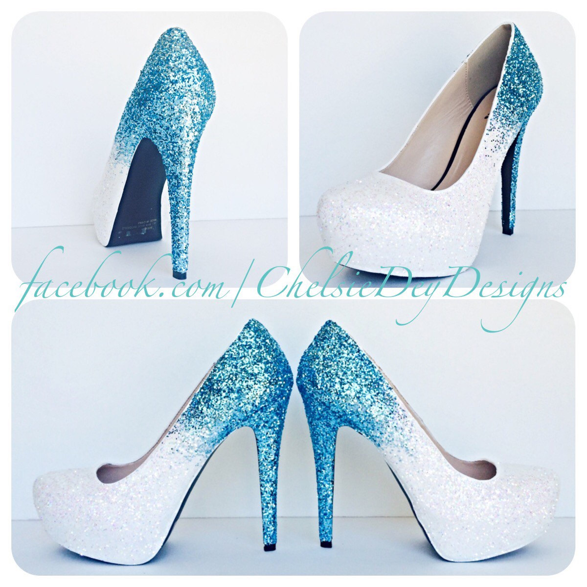 Ice Aqua Glitter High Heels, Turquoise Blue White Ombre Platform Pumps,  Frozen Wedding Shoes