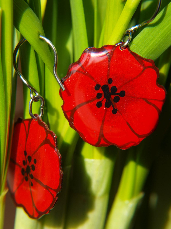 Poppy earrings, enameled stainless steel, red earrings, poppy ...