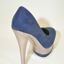 Blue Metallic Heel Pump