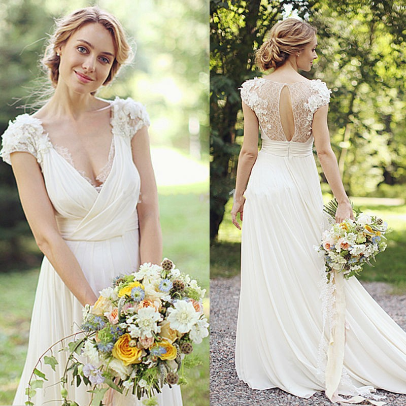 Amazing Sexy Beach Wedding Dress Chiffon White Wedding Dresses Tulle A Line Wedding