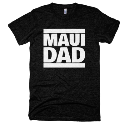 "Tri-black ""maui dad"" tee, made in usa"