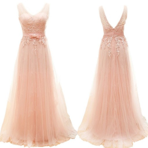 Off shoulder prom dress, blush pink prom dress, tulle prom dresses ...
