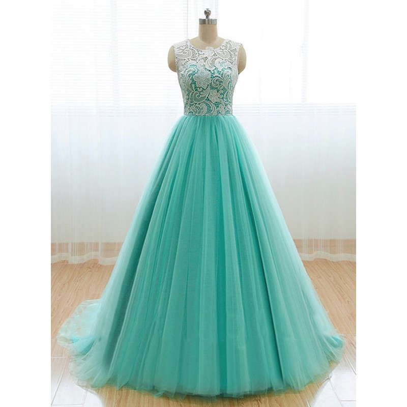 mint lace prom dress, A line prom dress, long prom dress, 2015 prom ...