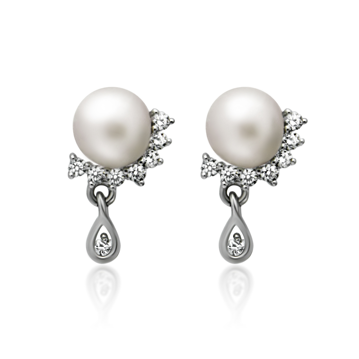925 Sterling Silver Earrings, Teardrop Earrings Swing Pearl Earrings, Pearl  Ball Earrings, Classic