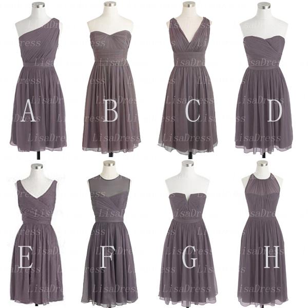 Gray Bridesmaid Dress, short Bridesmaid Dress, Mismatched Bridesmaid ...