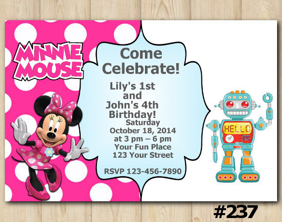 Joint twins invitation minnie mouserobot birthday party custom joint twins invitation minnie mouserobot birthday party custom printable file diy237 filmwisefo