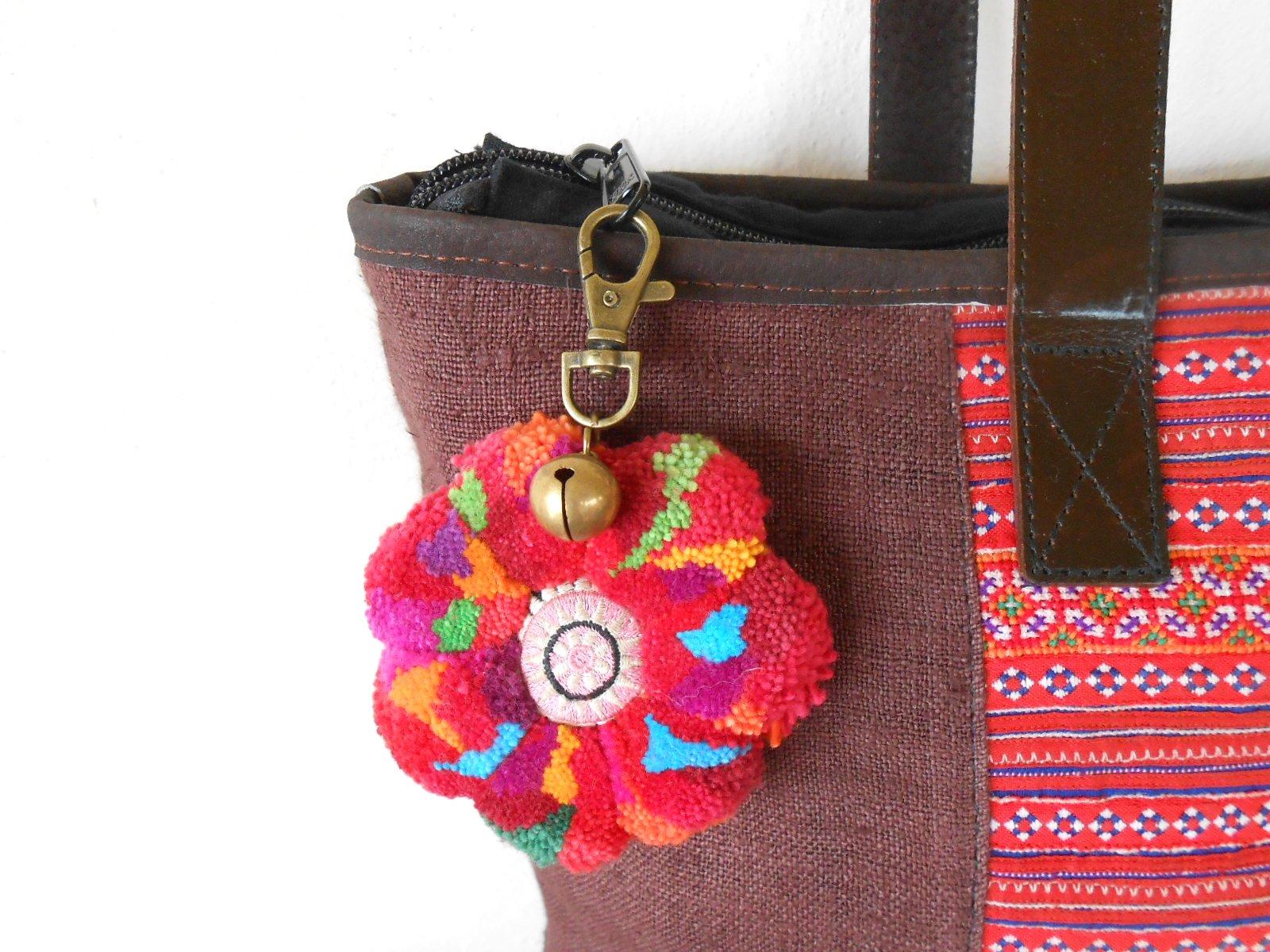... Colorful Flower Pom Poms Keychain Zip Pull Bag Accessory Decoration  Handmade AC1002 - Thumbnail 4 b5fe650bd593