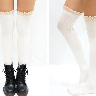 Comfy lace trim knit thigh high boot socks- white