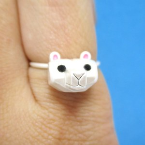 3D Super Cute Polar Bear Face Shaped Animal Ring in Silver