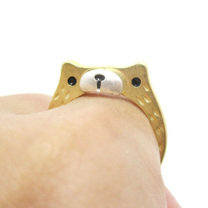 Teddy Bear Face Shaped Animal Ring in Gold with Textured Details