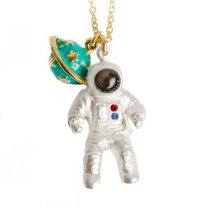 Realistic Astronaut NASA Space Themed Planet Saturn Charm Necklace
